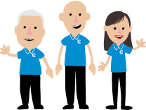 Cartoon picture of chirp technicians in blue polo uniform waving